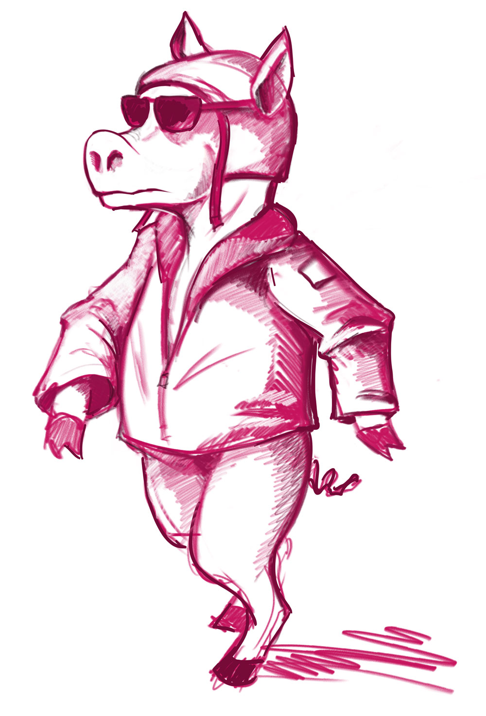 Pig in flight suit