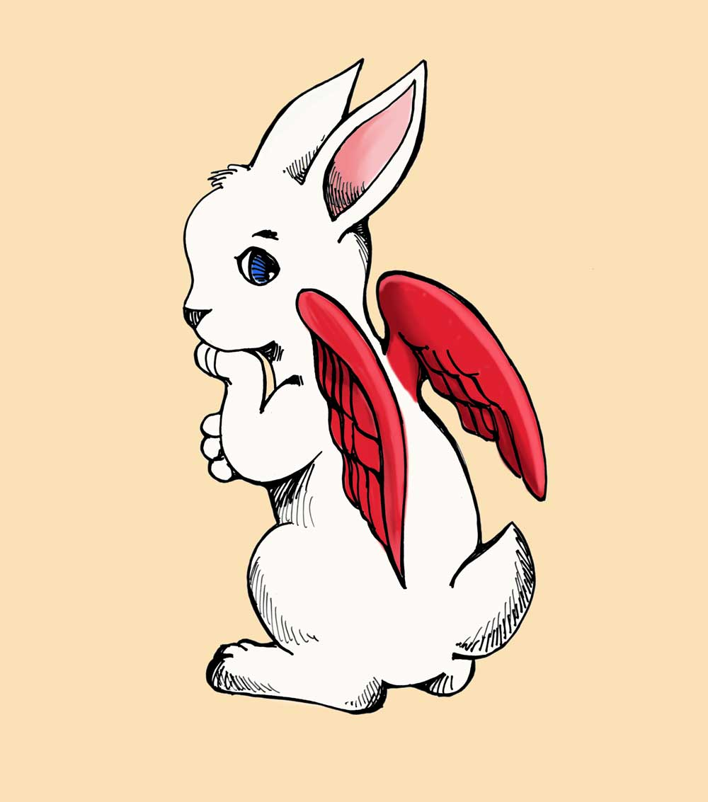 rabbit with red wings