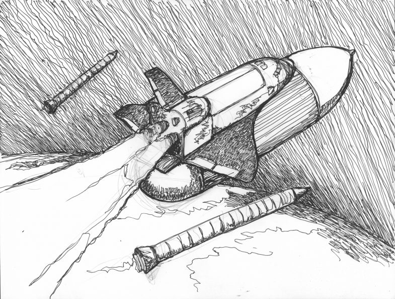 Space shuttle pen and ink, drawing, illustration, artwork